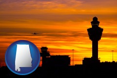 alabama map icon and an airport terminal and control tower at sunset