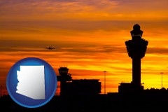 arizona map icon and an airport terminal and control tower at sunset