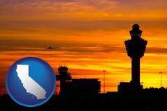 california map icon and an airport terminal and control tower at sunset
