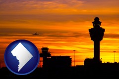 washington-dc map icon and an airport terminal and control tower at sunset