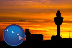 hawaii map icon and an airport terminal and control tower at sunset