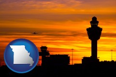 missouri map icon and an airport terminal and control tower at sunset