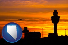 nevada map icon and an airport terminal and control tower at sunset