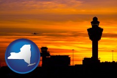 new-york map icon and an airport terminal and control tower at sunset