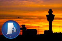 rhode-island map icon and an airport terminal and control tower at sunset
