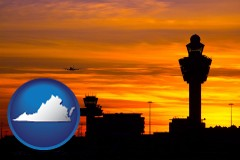 virginia map icon and an airport terminal and control tower at sunset