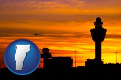vermont map icon and an airport terminal and control tower at sunset