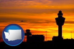 washington map icon and an airport terminal and control tower at sunset