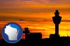 wisconsin map icon and an airport terminal and control tower at sunset