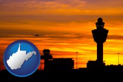 west-virginia map icon and an airport terminal and control tower at sunset