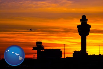 an airport terminal and control tower at sunset - with Hawaii icon